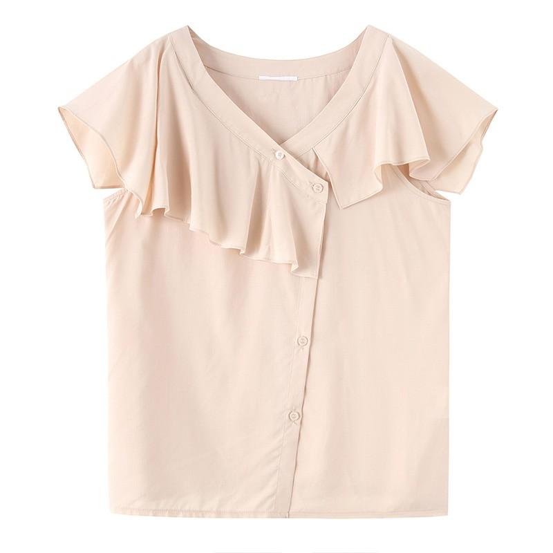 金苑女装2020新款夏季显瘦小众上衣仙女超仙减龄雪纺衬衣A2021106