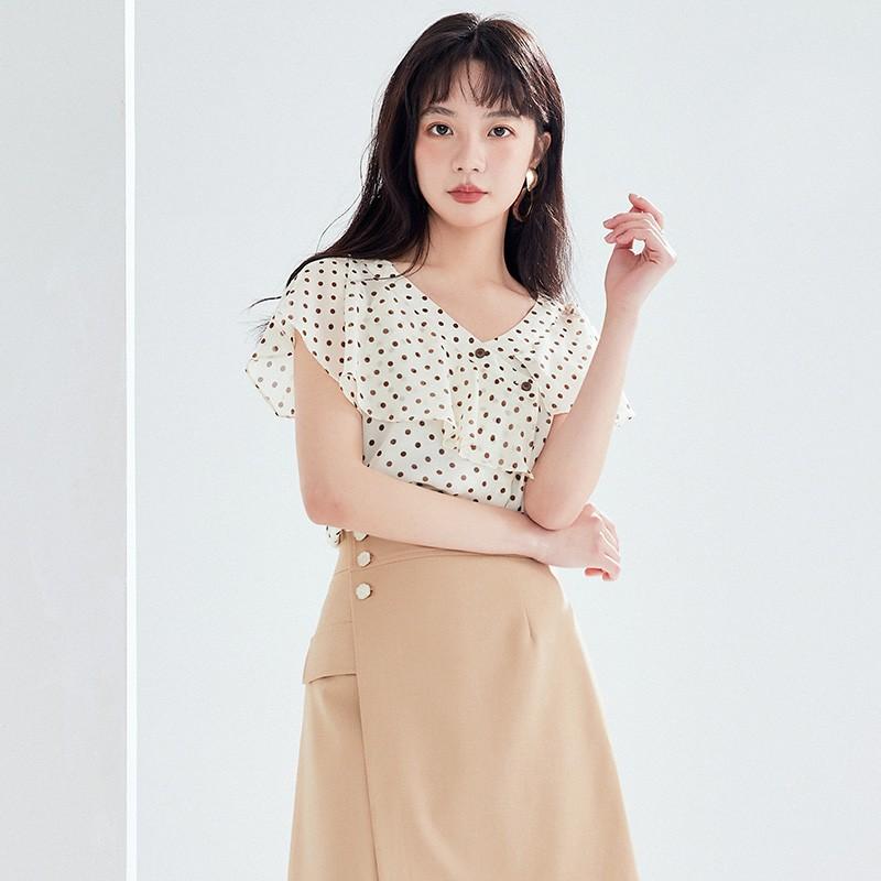 金苑女装2020新款夏季显瘦小众上衣仙女超仙减龄雪纺衬衣A20211010
