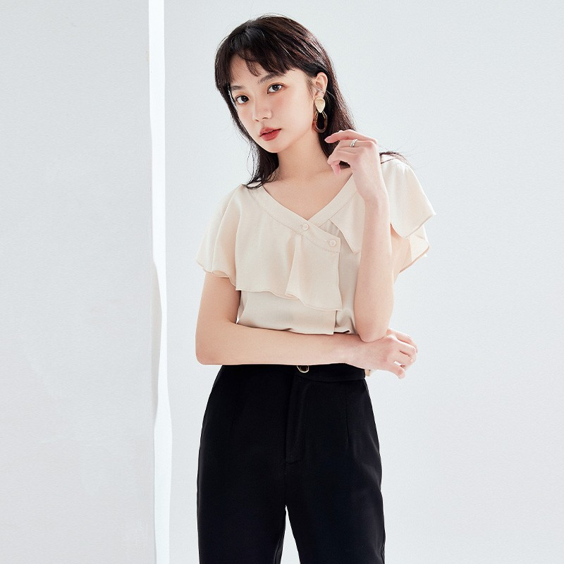金苑女装2020新款夏季显瘦小众上衣仙女超仙减龄雪纺衬衣A2021105