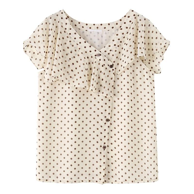 金苑女装2020新款夏季显瘦小众上衣仙女超仙减龄雪纺衬衣A20211014