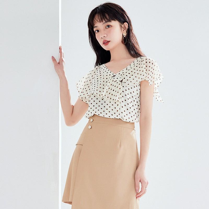 金苑女装2020新款夏季显瘦小众上衣仙女超仙减龄雪纺衬衣A20211011