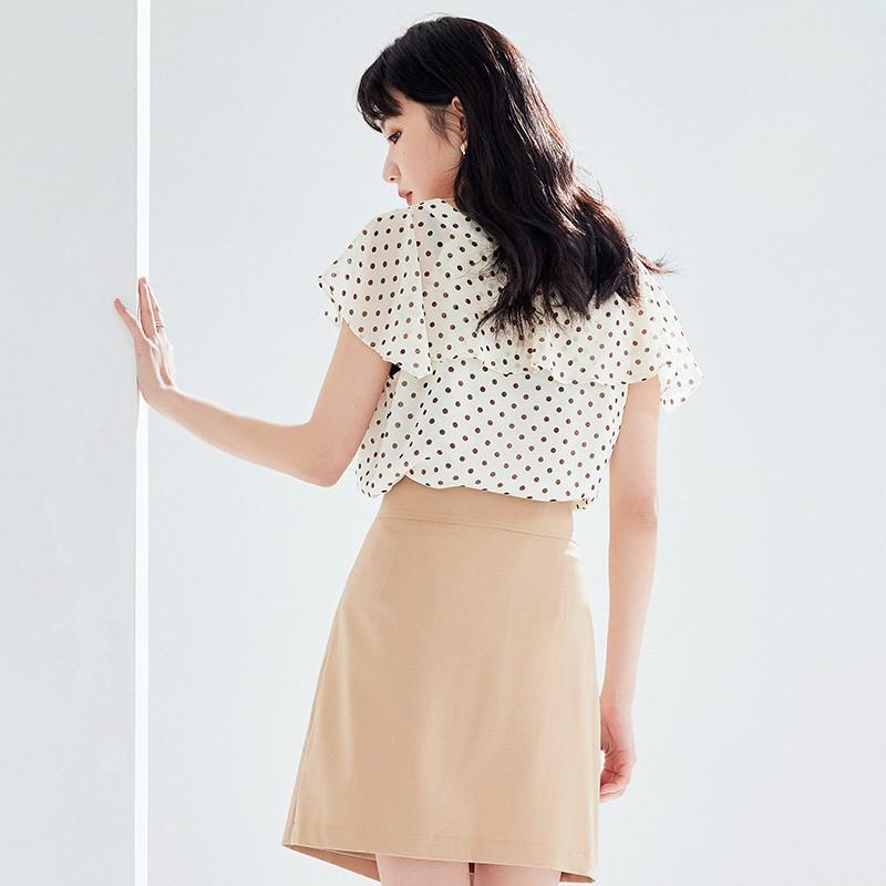 金苑女装2020新款夏季显瘦小众上衣仙女超仙减龄雪纺衬衣A20211013