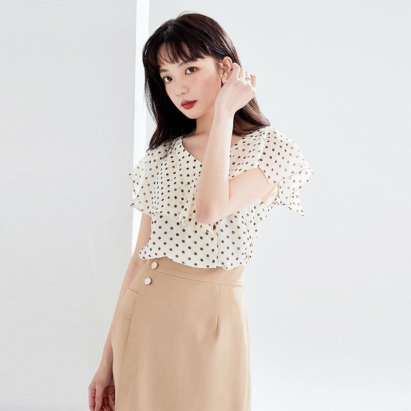 金苑女装2020新款夏季显瘦小众上衣仙女超仙减龄雪纺衬衣A20211012