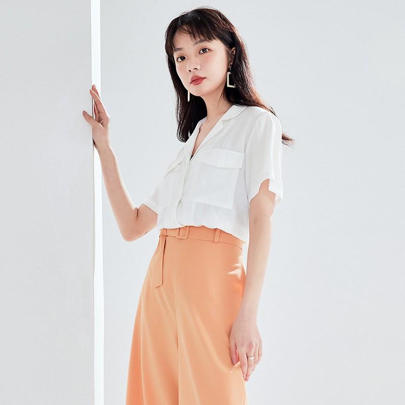 金苑女装衬衫女2020夏季新款V领上衣小心机轻熟衬衣白衬衫A2021113