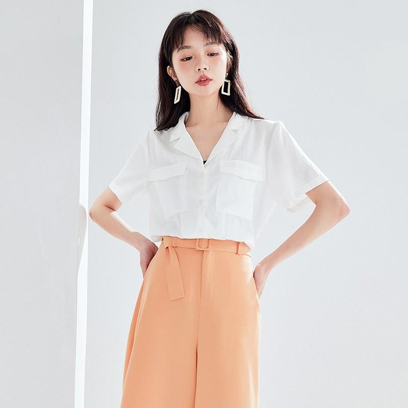 金苑女装衬衫女2020夏季新款V领上衣小心机轻熟衬衣白衬衫A2021114