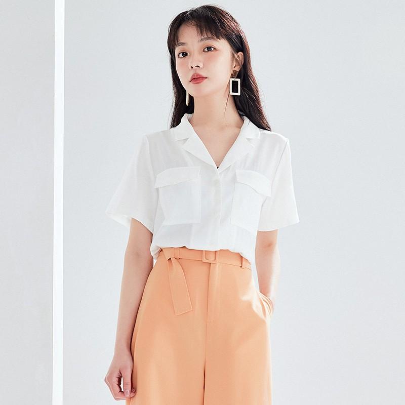 金苑女装衬衫女2020夏季新款V领上衣小心机轻熟衬衣白衬衫A2021112