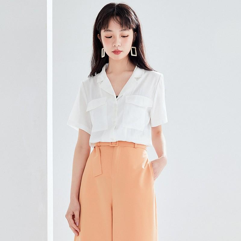 金苑女装衬衫女2020夏季新款V领上衣小心机轻熟衬衣白衬衫A2021115
