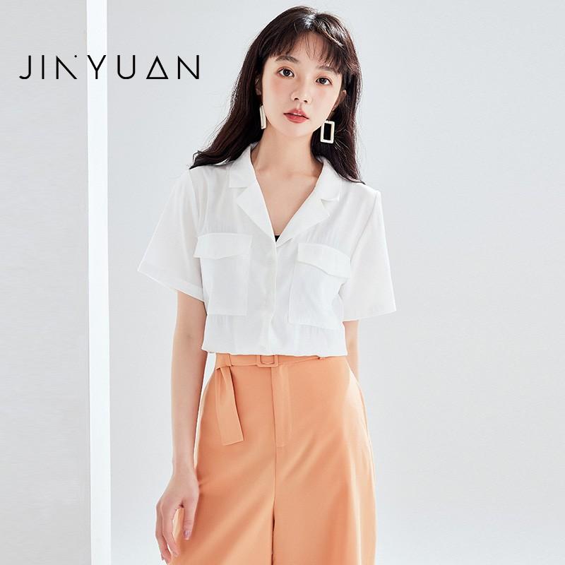 金苑女装衬衫女2020夏季新款V领上衣小心机轻熟衬衣白衬衫A2021111