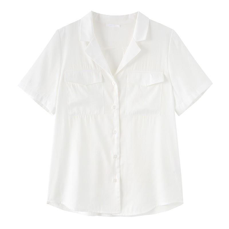 金苑女装衬衫女2020夏季新款V领上衣小心机轻熟衬衣白衬衫A2021116
