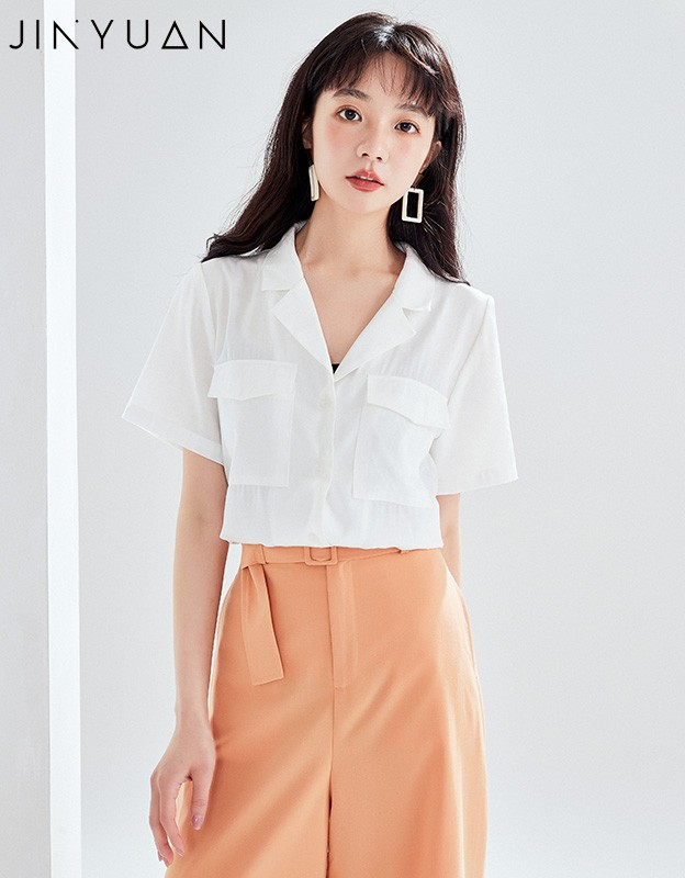 金苑女装衬衫女2020夏季新款V领上衣小心机轻熟衬衣白衬衫A2021117