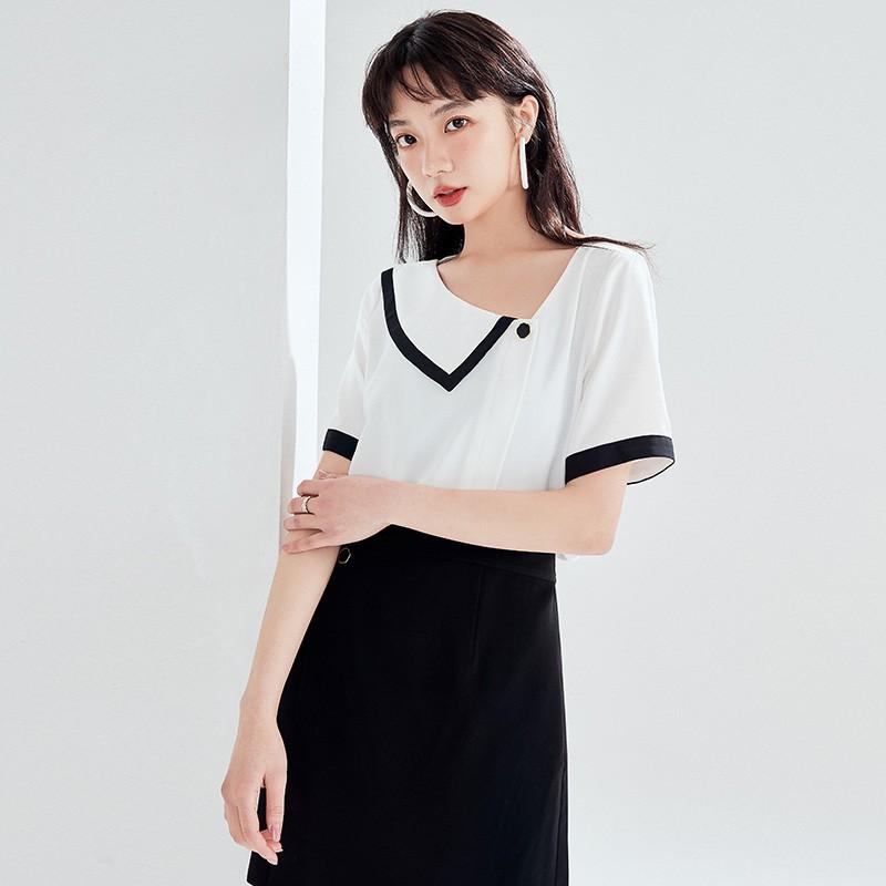 金苑雪纺衫女2020夏新款女装小香风上衣韩版瘦通勤OL小衫A2021123