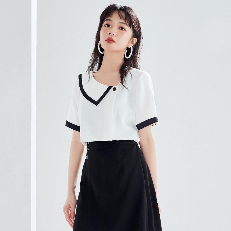 金苑雪纺衫女2020夏新款女装小香风上衣韩版瘦通勤OL小衫A2021124