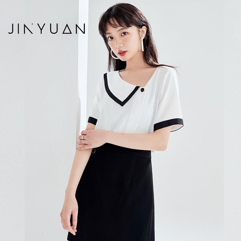 金苑雪纺衫女2020夏新款女装小香风上衣韩版瘦通勤OL小衫A2021121