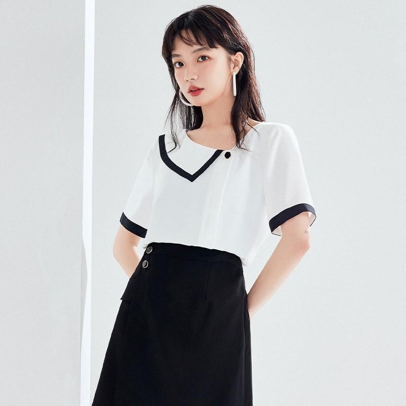 金苑雪纺衫女2020夏新款女装小香风上衣韩版瘦通勤OL小衫A2021122