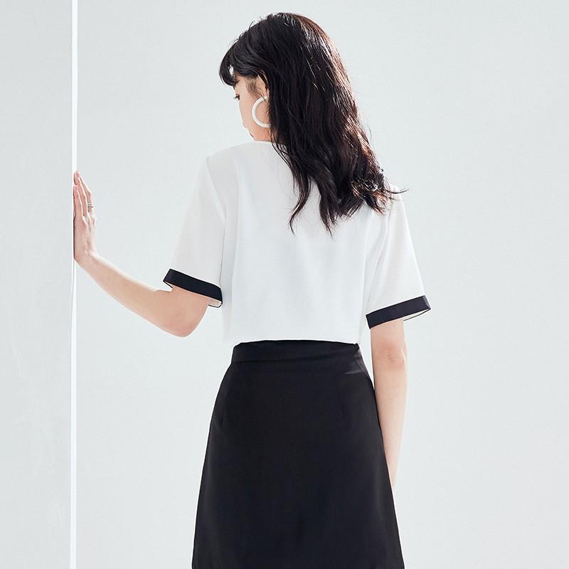金苑雪纺衫女2020夏新款女装小香风上衣韩版瘦通勤OL小衫A2021125
