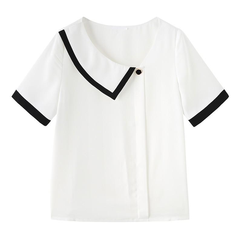 金苑雪纺衫女2020夏新款女装小香风上衣韩版瘦通勤OL小衫A2021126