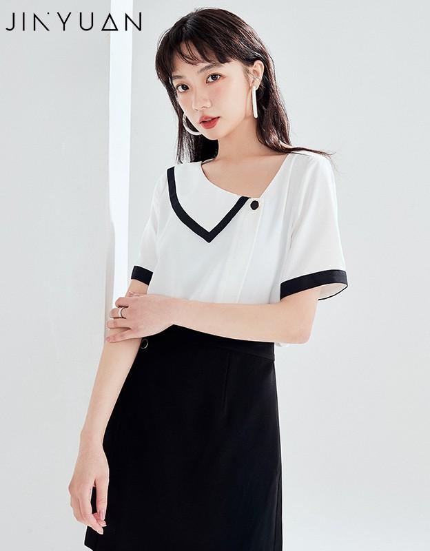 金苑雪纺衫女2020夏新款女装小香风上衣韩版瘦通勤OL小衫A2021127