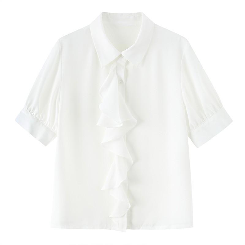 金苑女2020夏装新款荷叶边领带仙百搭短袖雪纺衫心机上衣A2021156