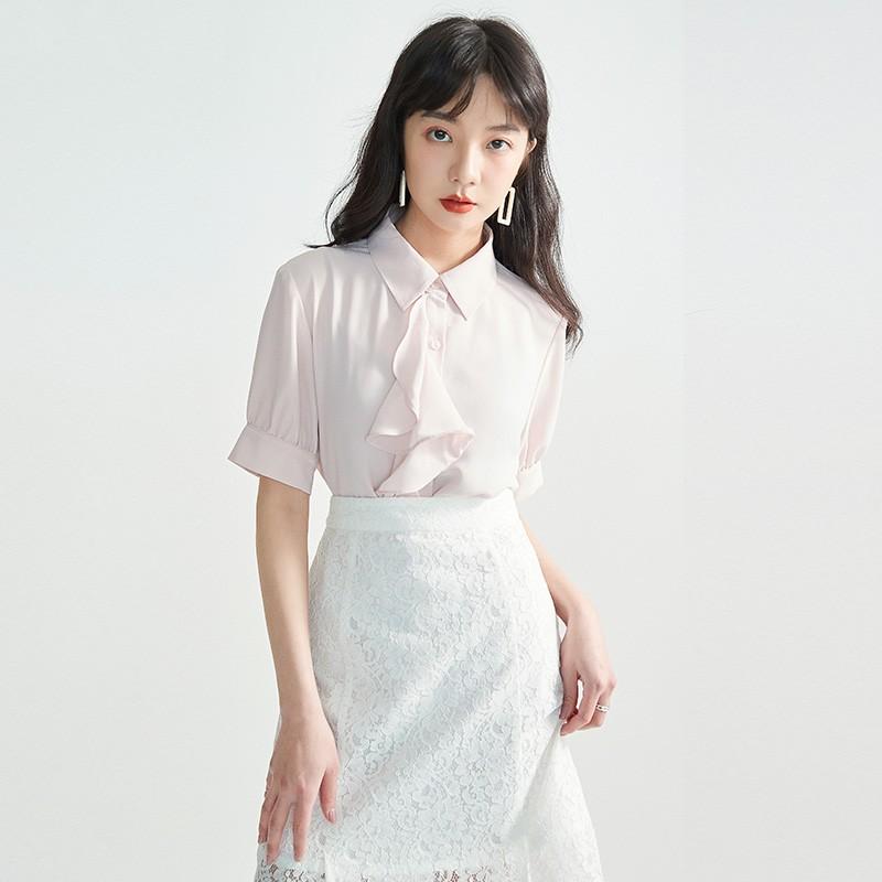 金苑女2020夏装新款荷叶边领带仙百搭短袖雪纺衫心机上衣A2021159
