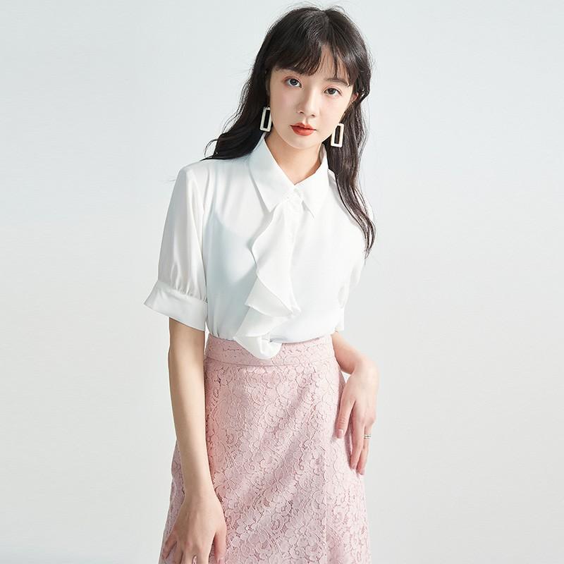 金苑女2020夏装新款荷叶边领带仙百搭短袖雪纺衫心机上衣A2021152