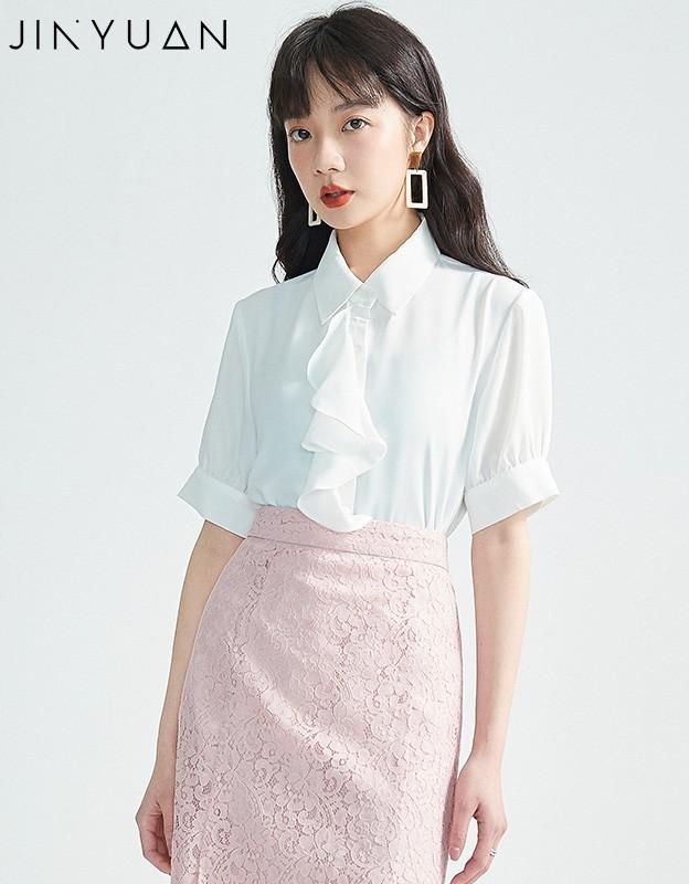 金苑女2020夏装新款荷叶边领带仙百搭短袖雪纺衫心机上衣A2021157