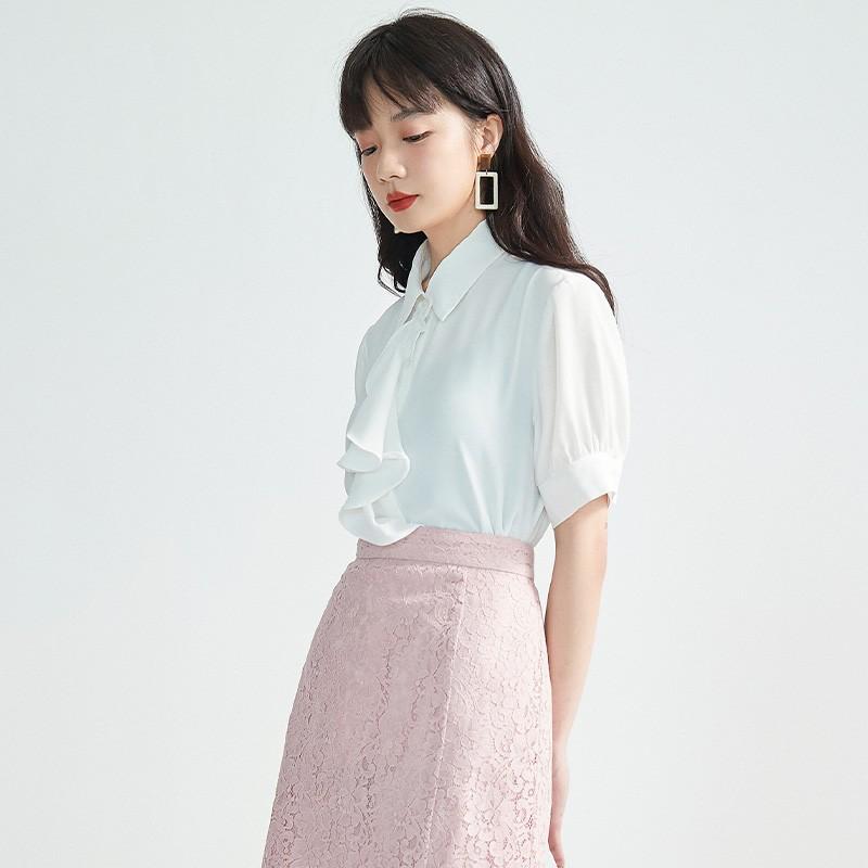 金苑女2020夏装新款荷叶边领带仙百搭短袖雪纺衫心机上衣A2021153