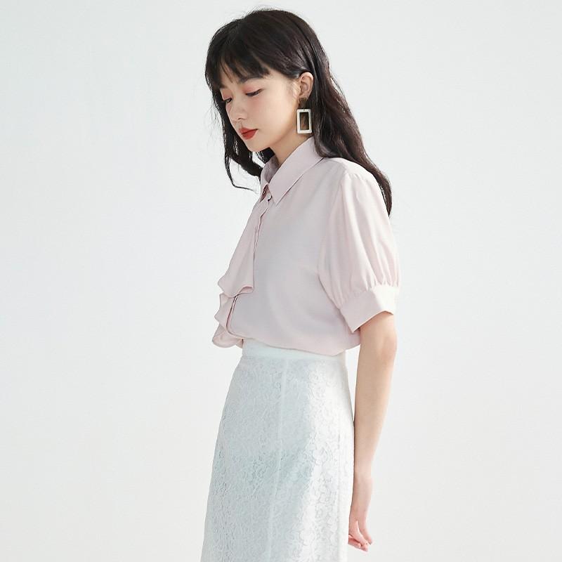 金苑女2020夏装新款荷叶边领带仙百搭短袖雪纺衫心机上衣A20211510