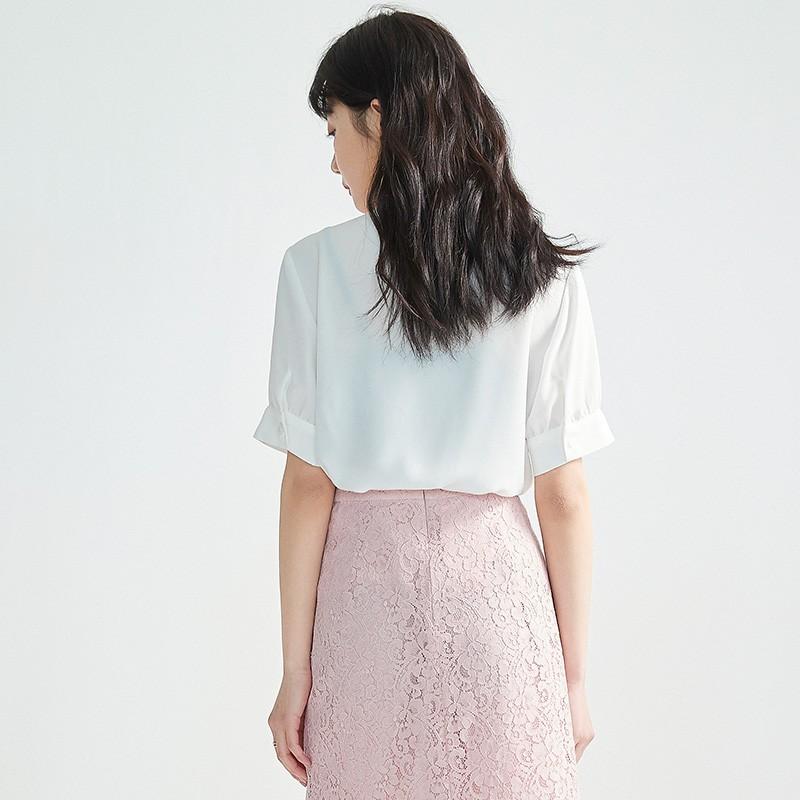 金苑女2020夏装新款荷叶边领带仙百搭短袖雪纺衫心机上衣A2021155