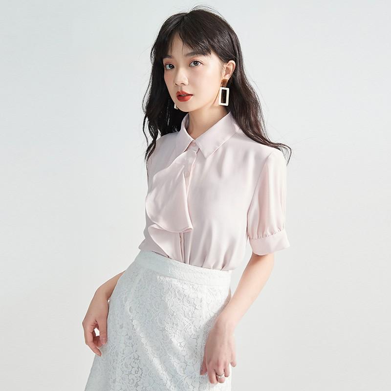 金苑女2020夏装新款荷叶边领带仙百搭短袖雪纺衫心机上衣A20211511