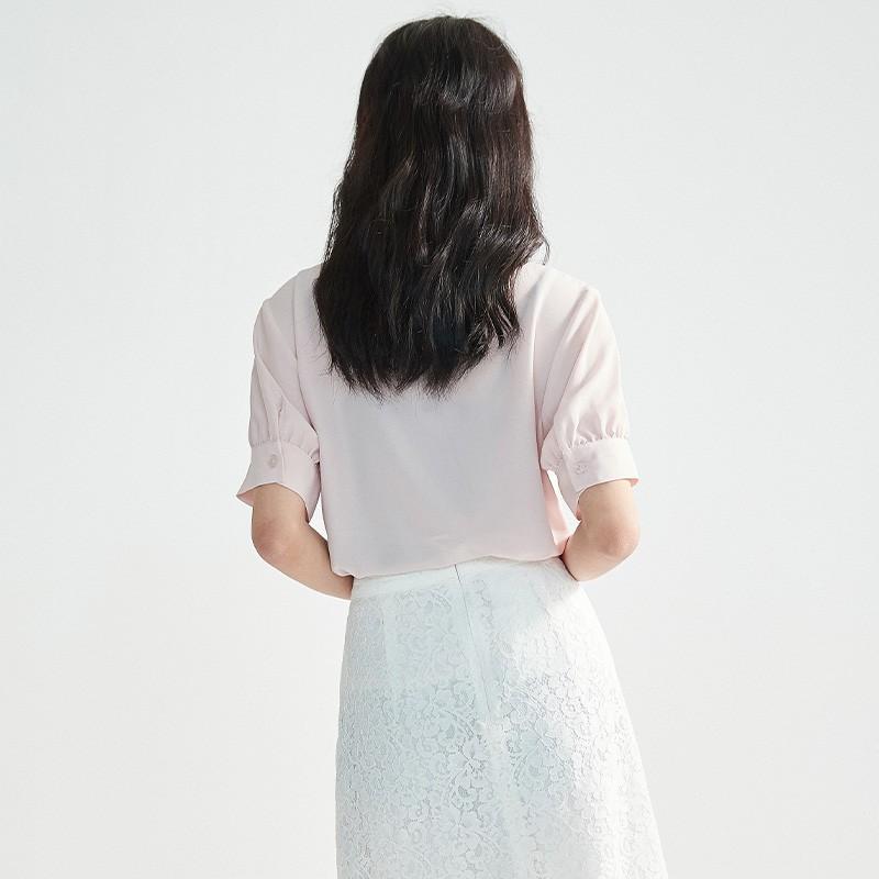 金苑女2020夏装新款荷叶边领带仙百搭短袖雪纺衫心机上衣A20211512