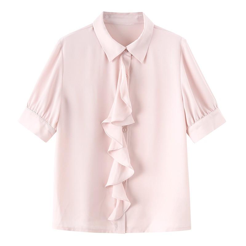 金苑女2020夏装新款荷叶边领带仙百搭短袖雪纺衫心机上衣A20211513